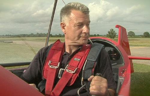 John Askew using his modified rudder control