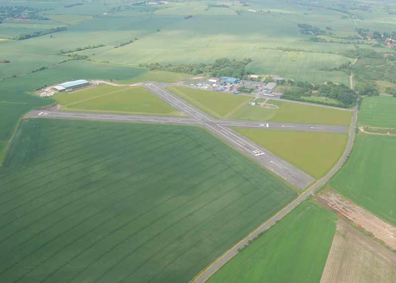 Wickenby Airfield, near Lincoln. One of the few WW2 airfields which has all its original runways still in tact.