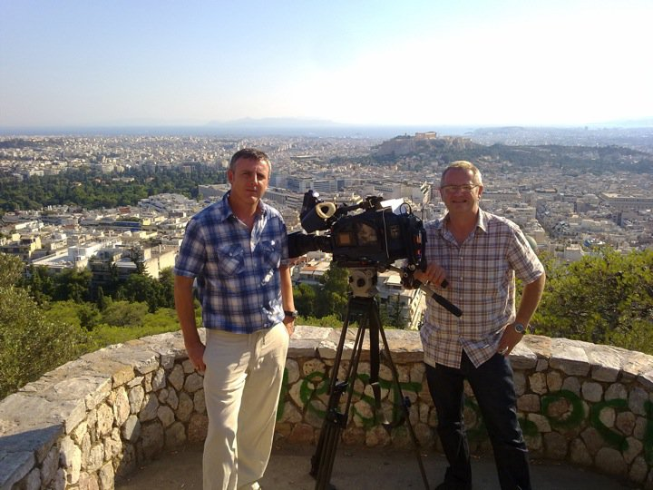 Simon White and Mark Witty in Greece for 'Finding Ben Needham'